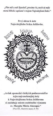 Záložka: Prvý obraz k úcte Najsvätejšieho Srdca Ježišovho