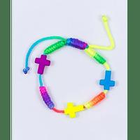 Náramok: šnúrkový s krížikmi - farebný  (BC569)