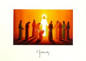 Pozdrav: Vzkriesený Kristus a apoštoli, bez textu (VN003)
