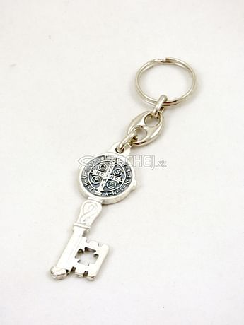 Kľúčenka: Benediktínsky kľúč, kovová (PC96-OX)