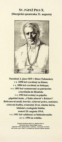 Záložka: Sv. pápež Pius X. + litánie