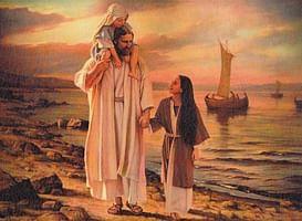 Obraz na dreve: Pán Ježiš s deťmi pri mori (30x20)