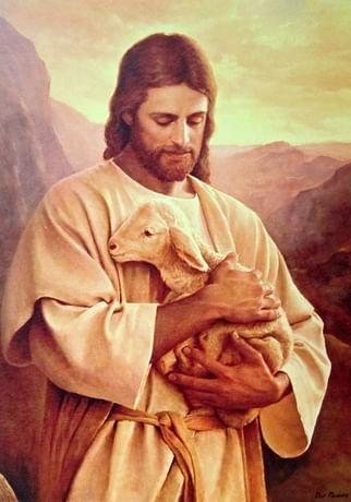 Obraz na dreve: Pán Ježiš s ovečkou (25x18)