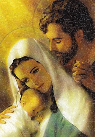 Obraz na dreve: Svätá rodina - farebná (15x10)