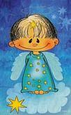 Obrázok na dreve: Anjel Zlatúšik - modrý