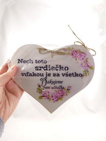 Drevené srdce: Nech toto srdiečko vďakou je za všetko...