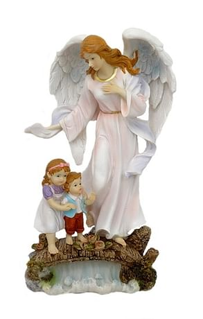 Soška: Anjel strážny s deťmi - ružová (5187A)
