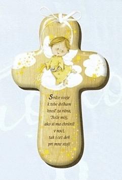 Kríž: s modlitbou, drevený (CM-2)