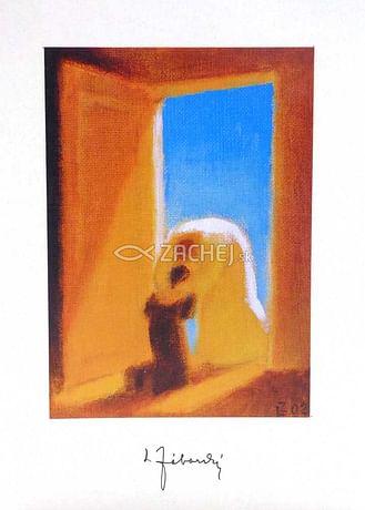 Pozdrav: Boh a človek v nebeskej bráne - bez textu (PZ004)