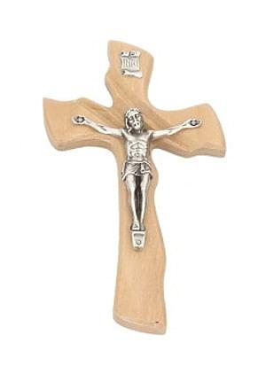Kríž: drevený, mašľový s korpusom - prírodný (016)