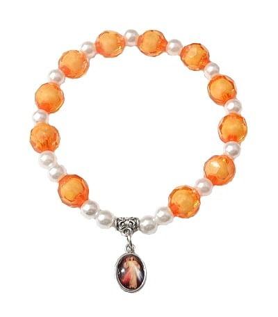 Náramok: desiatok s medailónom - oranžový (BC779)