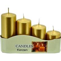 Sviečka: adventná, postupná, metalická - zlatá