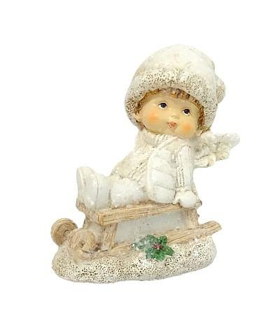 Anjel na saniach - chlapec (111444B)