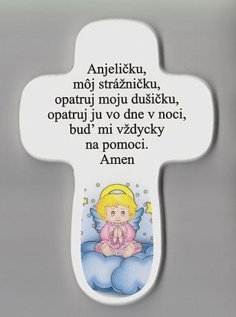 Kríž: s modlitbou - ružový anjel (AD4)