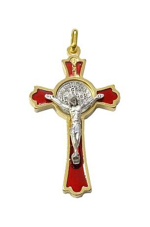 Prívesok: Benediktínsky krížik - červený (K0235zl.)