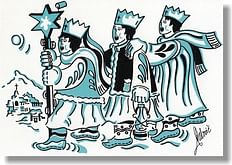 Pohľadnica: vianočná s textom - Traja králi, modrý