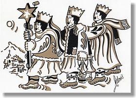 Pohľadnica: vianočná s textom - Traja králi, hnedý