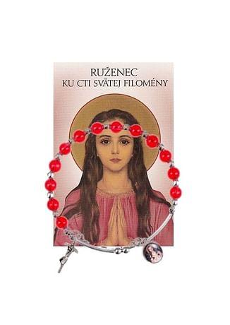 Sada: náramok s ružencom Sv. Filomény s modlitbou (Z024)
