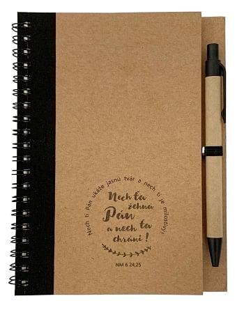 Zápisník s perom: Nech ťa žehná - čierny