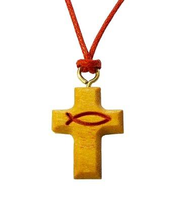 Prívesok: krížik, so šnúrkou, drevený (717/5)
