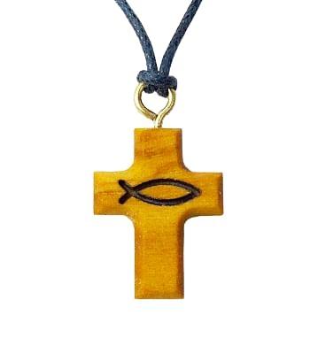 Prívesok: krížik, so šnúrkou, drevený (717/4)