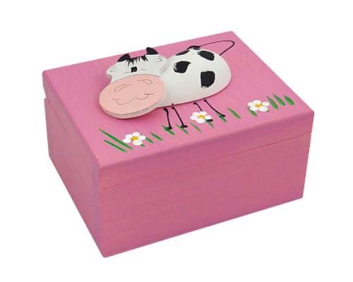 Krabička: so zvieratkom, drevená - ružová (K)