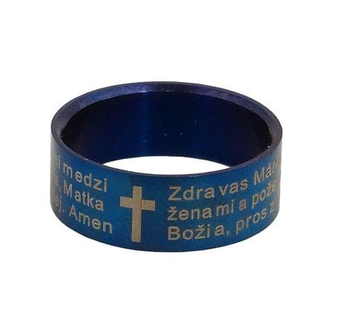 Prsteň: Zdravas Mária - modrý (837/Z-17)