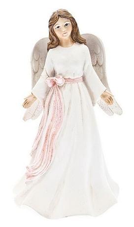 Anjel: s ružovou stuhou, biely - 19 cm (201103)