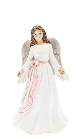 Anjel: s ružovou stuhou, biely - 12 cm (201101)