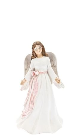 Anjel: s ružovou stuhou, biely - 8 cm (201100)
