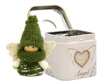 Anjel: v plechovej krabičke - zelený (3901)