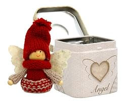 Anjel: v plechovej krabičke - bordový (3901)