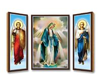 Triptych: Panna Mária Zázračná medaila, drevený (N55)