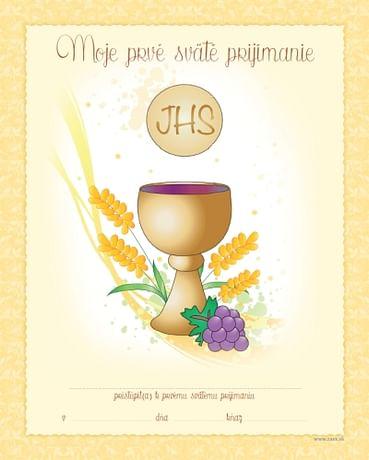 Pamätný list: Pamiatka na 1. sväté prijímanie (Z-Kalich)