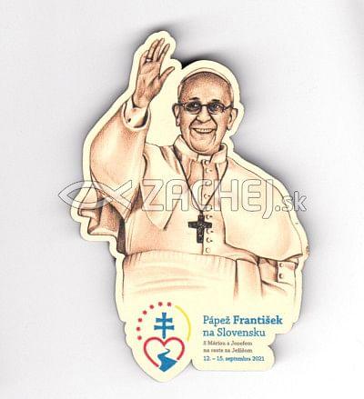 Magnetka: Pápež František na Slovensku (výsek), drevená