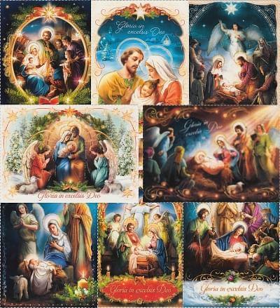 Pohľadnica: vianočná, flitrovaná - bez textu (séria 4)