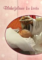 Pozdrav: Blahoželanie ku krstu - s textom, ružové